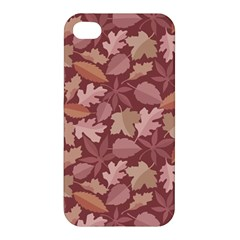 Marsala Leaves Pattern Apple Iphone 4/4s Hardshell Case by sifis