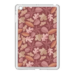 Marsala Leaves Pattern Apple iPad Mini Case (White) by sifis