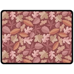 Marsala Leaves Pattern Double Sided Fleece Blanket (large)  by sifis