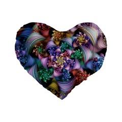 Bright Taffy Spiral Standard 16  Premium Heart Shape Cushions by WolfepawFractals