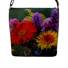 Colorful Flowers Flap Messenger Bag (l)  by MichaelMoriartyPhotography