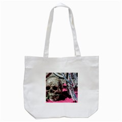 Skull And Bike Tote Bag (white) by MichaelMoriartyPhotography
