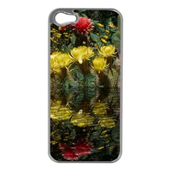Cactus Flowers With Reflection Pool Apple Iphone 5 Case (silver) by MichaelMoriartyPhotography