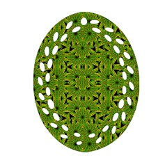 Geometric African Print Oval Filigree Ornament (2 Side)  by dflcprints