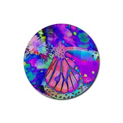 Psychedelic Butterfly Rubber Round Coaster (4 Pack)  by MichaelMoriartyPhotography