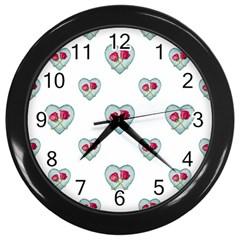 Love Ornate Motif Print Wall Clocks (black) by dflcprints