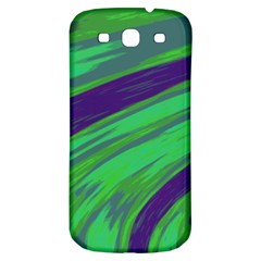 Swish Green Blue Samsung Galaxy S3 S III Classic Hardshell Back Case by BrightVibesDesign