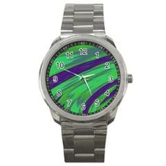 Swish Green Blue Sport Metal Watch by BrightVibesDesign