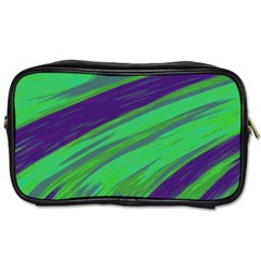Swish Green Blue Toiletries Bags 2 Side by BrightVibesDesign