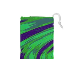 Swish Green Blue Drawstring Pouches (small)  by BrightVibesDesign