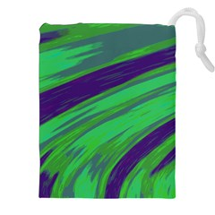 Swish Green Blue Drawstring Pouches (xxl) by BrightVibesDesign