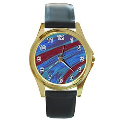 Swish Blue Red Abstract Round Gold Metal Watch by BrightVibesDesign