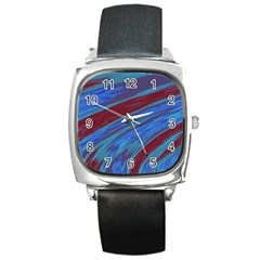 Swish Blue Red Abstract Square Metal Watch by BrightVibesDesign