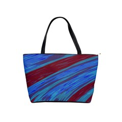 Swish Blue Red Abstract Shoulder Handbags by BrightVibesDesign