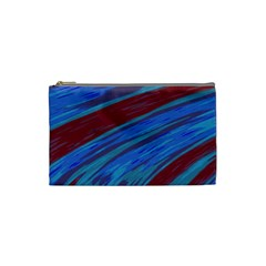Swish Blue Red Abstract Cosmetic Bag (small)  by BrightVibesDesign