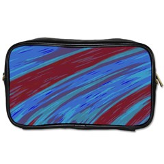 Swish Blue Red Abstract Toiletries Bags by BrightVibesDesign