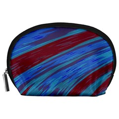Swish Blue Red Abstract Accessory Pouches (large)  by BrightVibesDesign