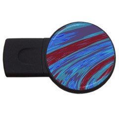 Swish Blue Red Abstract Usb Flash Drive Round (2 Gb)  by BrightVibesDesign