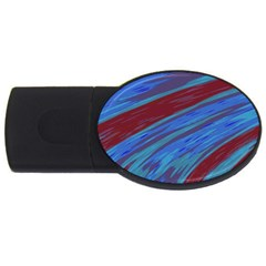 Swish Blue Red Abstract Usb Flash Drive Oval (4 Gb)  by BrightVibesDesign