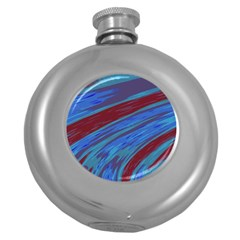 Swish Blue Red Abstract Round Hip Flask (5 Oz) by BrightVibesDesign