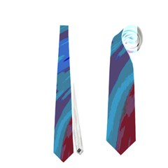 Swish Blue Red Abstract Neckties (two Side)  by BrightVibesDesign