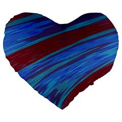 Swish Blue Red Abstract Large 19  Premium Heart Shape Cushions by BrightVibesDesign