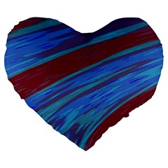 Swish Blue Red Abstract Large 19  Premium Flano Heart Shape Cushions by BrightVibesDesign