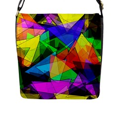 Colorful Triangles                                                                  			flap Closure Messenger Bag (l) by LalyLauraFLM