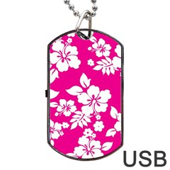 Pink Hawaiian Dog Tag Usb Flash (one Side) by AlohaStore