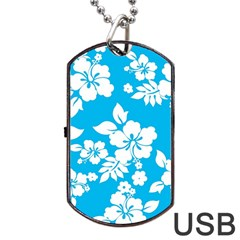 Light Blue Hawaiian Dog Tag USB Flash (Two Sides)  by AlohaStore