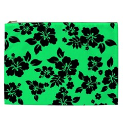 Dark Lime Hawaiian Cosmetic Bag (xxl)  by AlohaStore