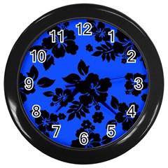 Dark Blue Hawaiian Wall Clocks (Black) by AlohaStore