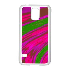 Swish Bright Pink Green Design Samsung Galaxy S5 Case (White) by BrightVibesDesign