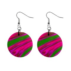 Swish Bright Pink Green Design Mini Button Earrings by BrightVibesDesign