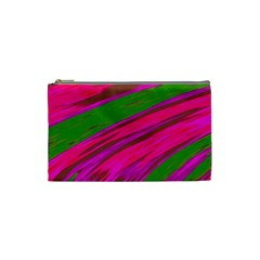 Swish Bright Pink Green Design Cosmetic Bag (small)  by BrightVibesDesign