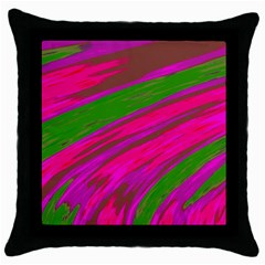 Swish Bright Pink Green Design Throw Pillow Case (black) by BrightVibesDesign