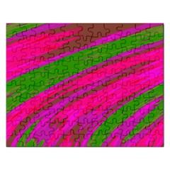 Swish Bright Pink Green Design Rectangular Jigsaw Puzzl by BrightVibesDesign