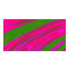 Swish Bright Pink Green Design Satin Shawl by BrightVibesDesign