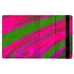 Swish Bright Pink Green Design Apple Ipad 3/4 Flip Case by BrightVibesDesign