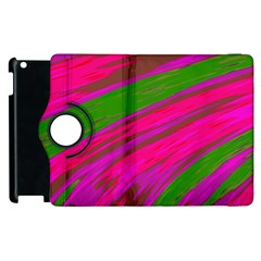 Swish Bright Pink Green Design Apple Ipad 2 Flip 360 Case by BrightVibesDesign