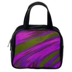 Swish Purple Green Classic Handbags (one Side) by BrightVibesDesign