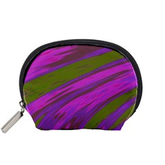 Swish Purple Green Accessory Pouches (small)  by BrightVibesDesign