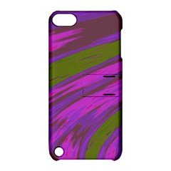 Swish Purple Green Apple Ipod Touch 5 Hardshell Case With Stand by BrightVibesDesign