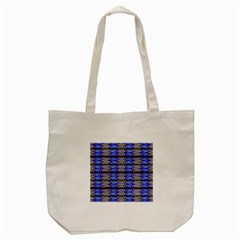 Pattern Tile Blue White Green Tote Bag (cream) by BrightVibesDesign
