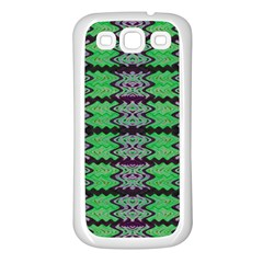 Pattern Tile Green Purple Samsung Galaxy S3 Back Case (white) by BrightVibesDesign