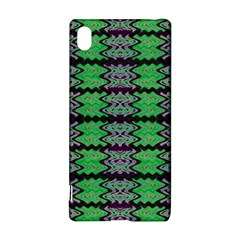 Pattern Tile Green Purple Sony Xperia Z3+ by BrightVibesDesign