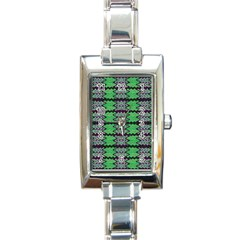 Pattern Tile Green Purple Rectangle Italian Charm Watch by BrightVibesDesign