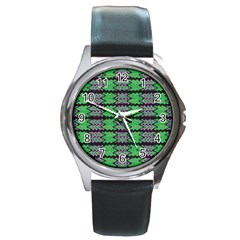 Pattern Tile Green Purple Round Metal Watch by BrightVibesDesign