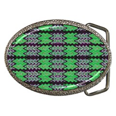 Pattern Tile Green Purple Belt Buckles by BrightVibesDesign