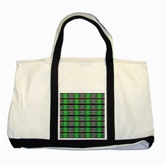 Pattern Tile Green Purple Two Tone Tote Bag by BrightVibesDesign